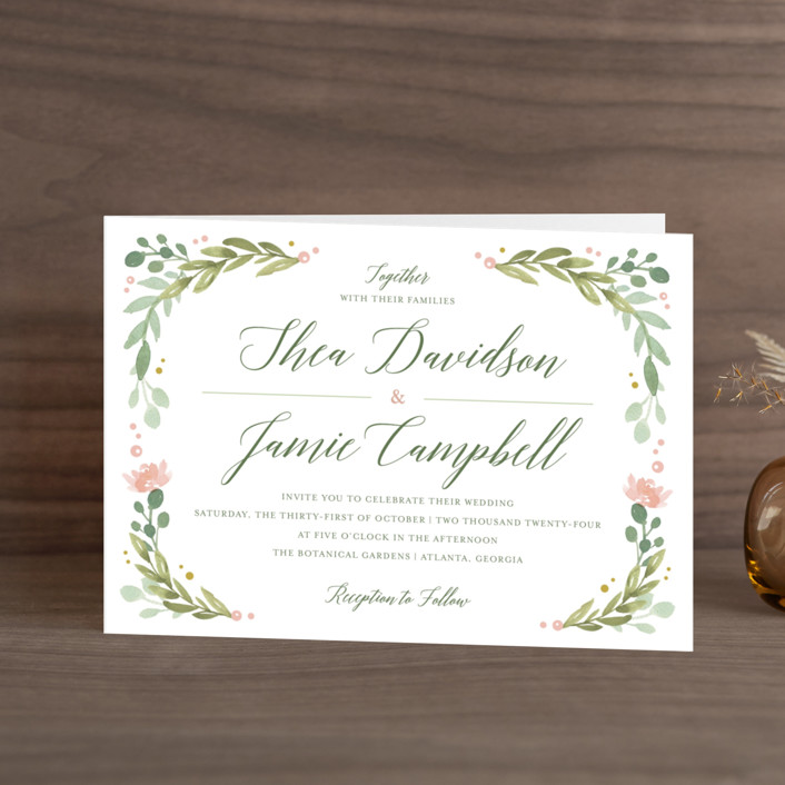 """Garden Glamour"" - Floral & Botanical, Rustic Four-panel Wedding Invitations in Sage by Kristen Smith."