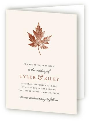 Leaf Print Four-Panel Wedding Invitations