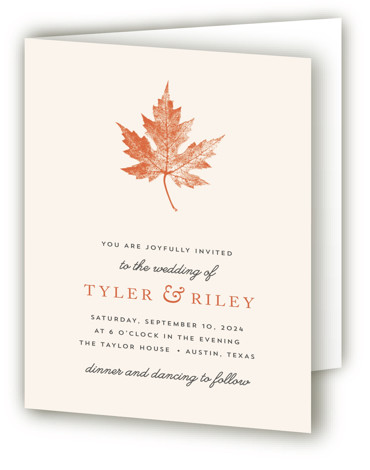 This is a portrait botanical, illustrative, rustic, simple, orange Savvy Wedding Invitations by Katharine Watson called Leaf Print with Standard printing on Signature in Four Panel Fold Over (Message Inside) format. This design uses a single leaf print to create ...