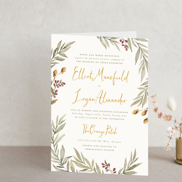 """""""Summer Love"""" - Rustic Four-panel Wedding Invitations in Sunflower by Wildfield Paper Co.."""