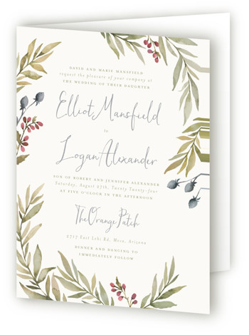This is a portrait botanical, rustic, blue Savvy Wedding Invitations by Wildfield Paper Co. called Summer Love with Standard printing on Signature in Four Panel Fold Over (Message Inside) format. Delicate and full branches come together to perfectly frame your ...