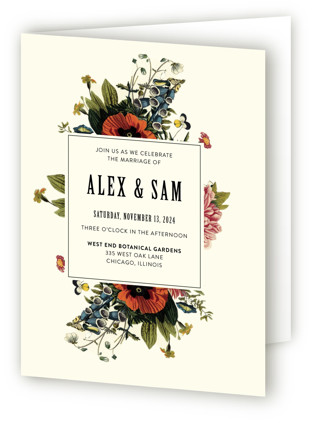 Vintage Garden Invite Four-Panel Wedding Invitations