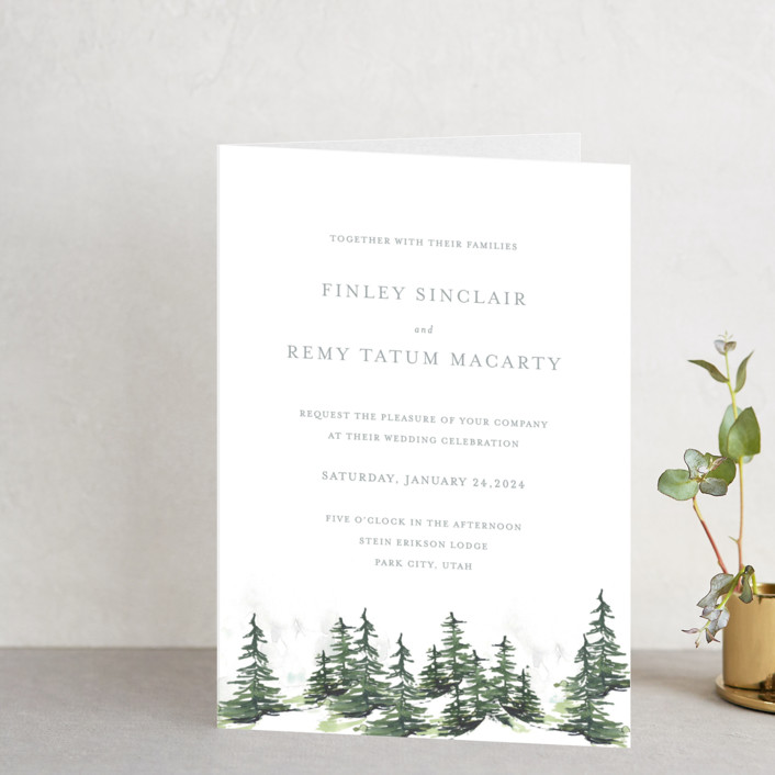 """On the Slopes"" - Rustic Four-panel Wedding Invitations in Fog by Mere Paper."