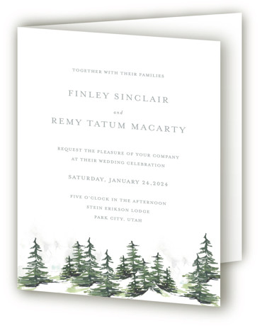This is a portrait botanical, destination, illustrative, modern, rustic, grey Savvy Wedding Invitations by Mere Paper called On the Slopes with Standard printing on Signature in Four Panel Fold Over (Message Inside) format. A watercolor snow covered evergreen landscape for ...