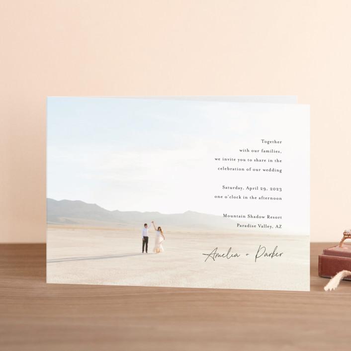 """Handwritten"" - Four-panel Wedding Invitations in Obsidian by Jennifer Postorino."