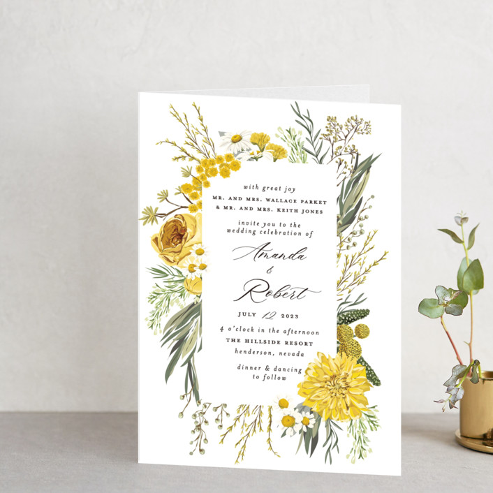 """""""Organic Florals"""" - Four-panel Wedding Invitations in Honey by Susan Moyal."""