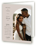 This is a beige four panel wedding invitation by Elly called the arch with standard printing on signature in four-panel.