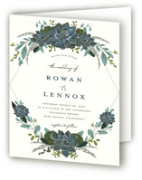 This is a blue four panel wedding invitation by Susan Moyal called Echeveria with standard printing on signature in four-panel.