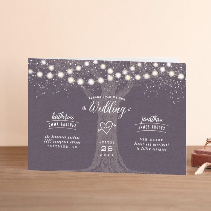 """""""Garden Lights"""" - Rustic, Whimsical & Funny Four-panel Wedding Invitations in Plum by Hooray Creative."""