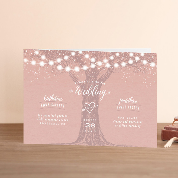 """Garden Lights"" - Rustic, Whimsical & Funny Four-panel Wedding Invitations in Plum by Hooray Creative."
