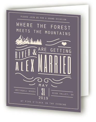 This is a portrait bold typographic, destination, hand drawn, modern, rustic, purple Savvy Wedding Invitations by Hannah Williams called Mountain Affair with Standard printing on Signature in Four Panel Fold Over (Message Inside) format. This wedding invitation offers a mountain ...