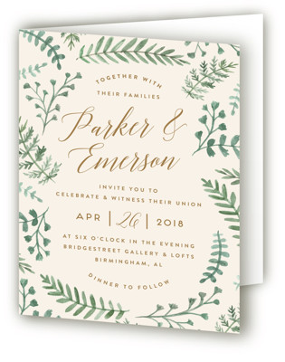 Painted Ferns Four-Panel Wedding Invitations