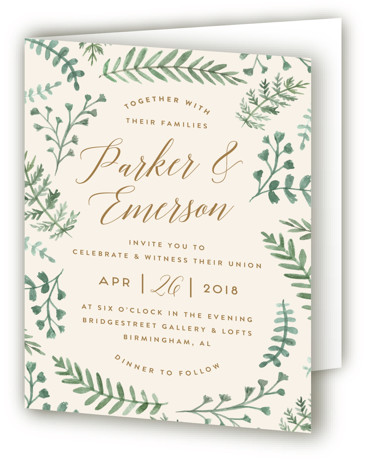 This is a portrait botanical, rustic, green, beige Savvy Wedding Invitations by Amy Kross called Painted Ferns with Standard printing on Signature in Four Panel Fold Over (Message Inside) format. This hand painted wedding invitation highlights watercolor fern illustrations.