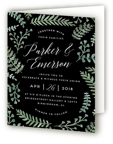 This is a portrait botanical, rustic, black, green Savvy Wedding Invitations by Amy Kross called Painted Ferns with Standard printing on Signature in Four Panel Fold Over (Message Inside) format. This hand painted wedding invitation highlights watercolor fern illustrations.