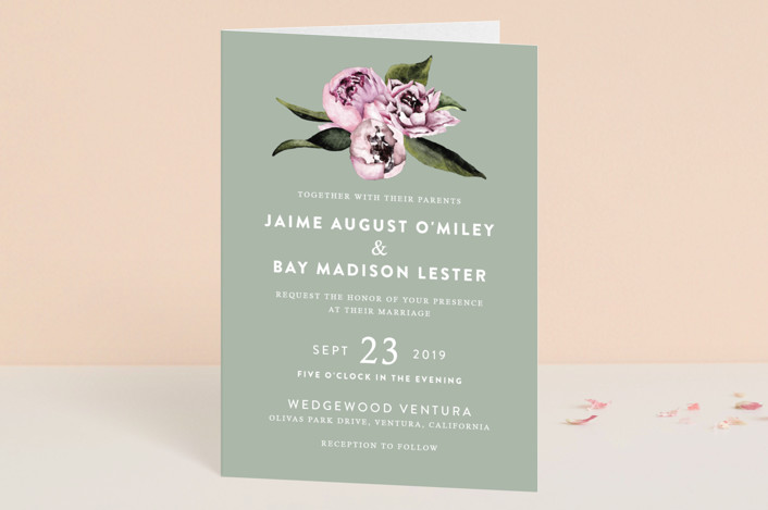"""Peony"" - Floral & Botanical Four-panel Wedding Invitations in Ice Mist by Cass Loh."