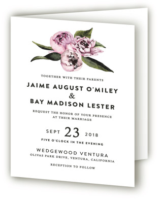Peony Four-Panel Wedding Invitations