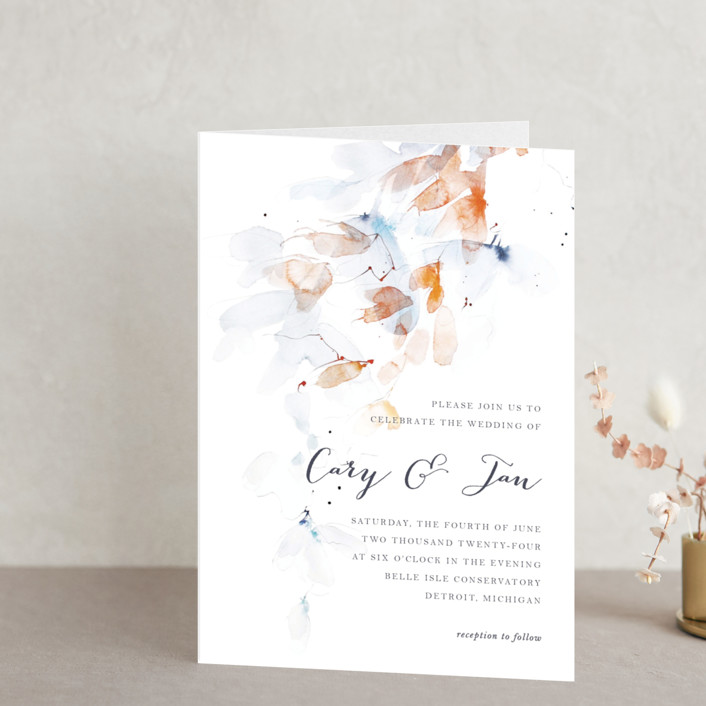 """Petale"" - Abstract, Floral & Botanical Four-panel Wedding Invitations in Blush by Kelly Ventura."