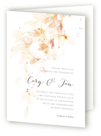 This is a portrait abstract, botanical, floral, modern, painterly, white, pink, orange Savvy Wedding Invitations by Kelly Ventura called Petale with Standard printing on Signature in Four Panel Fold Over (Message Inside) format. A cascading wash of soft petals