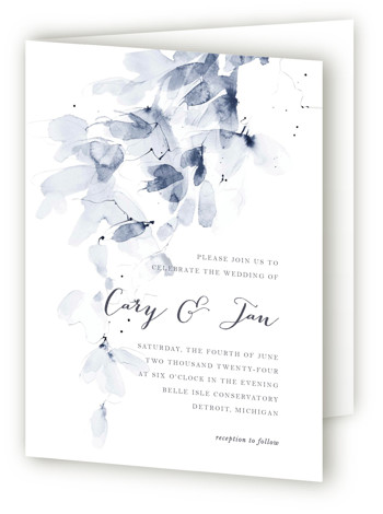 This is a portrait abstract, botanical, floral, modern, painterly, blue, white Savvy Wedding Invitations by Kelly Ventura called Petale with Standard printing on Signature in Four Panel Fold Over (Message Inside) format. A cascading wash of soft petals