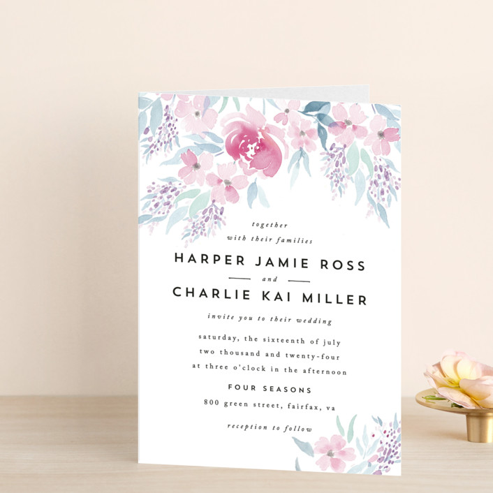 """Poetic Watercolor Flowers"" - Floral & Botanical Four-panel Wedding Invitations in Petal by Qing Ji."