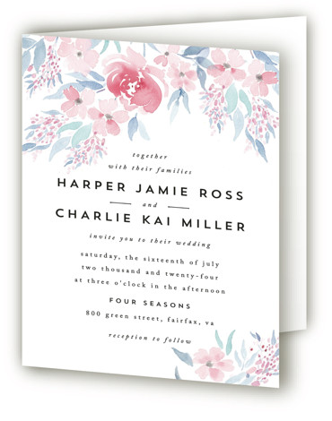 This is a portrait botanical, floral, painterly, pink Savvy Wedding Invitations by Qing Ji called Poetic Watercolor Flowers with Standard printing on Signature in Four Panel Fold Over (Message Inside) format. A poetic and modern design featuring hand painted soft ...