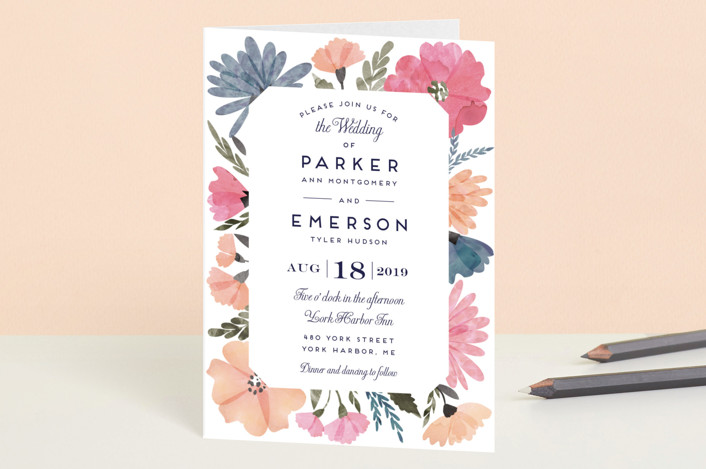 """""""Romantic Watercolor Flora"""" - Floral & Botanical Four-panel Wedding Invitations in Dhalia by Petra Kern."""