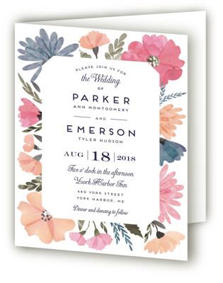 Romantic Watercolor Flora Four-Panel Wedding Invitations