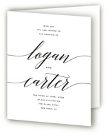 This is a black and white four panel wedding invitation by Design Lotus called Someone Like You with standard printing on signature in four-panel.
