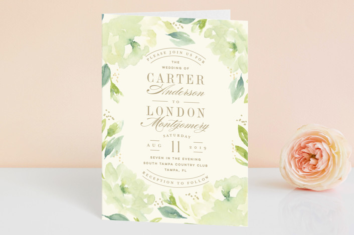 """Southern Garden"" - Floral & Botanical Four-panel Wedding Invitations in Moss by Lori Wemple."