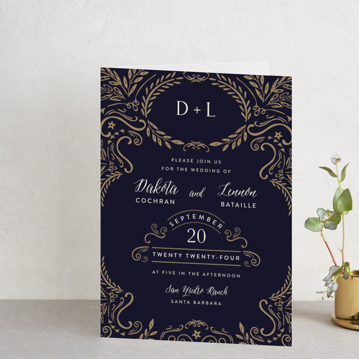 """Wedding Enchantment"" - Monogram, Formal Four-panel Wedding Invitations in Midnight by Chris Griffith."