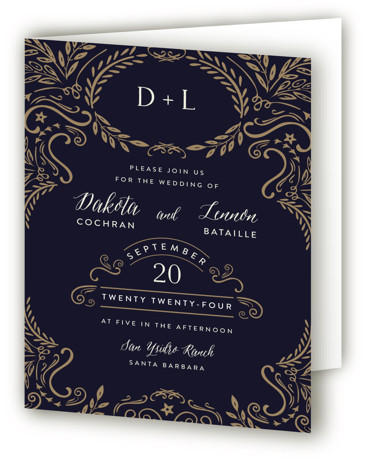 This is a portrait formal, monogram, vintage, blue Savvy Wedding Invitations by Chris Griffith called Wedding Enchantment with Standard printing on Signature in Four Panel Fold Over (Message Inside) format. Elegant scrolls and swirls give a vintage feel to this ...