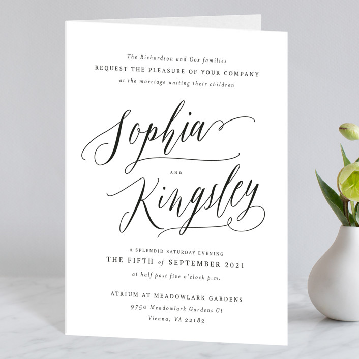 """Nothing Compares To You"" - Four-panel Wedding Invitations in Cream by Design Lotus."