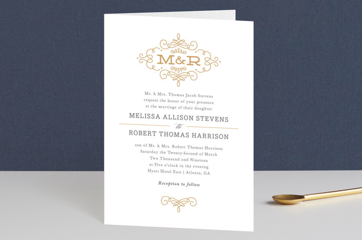 """Ornate Monogram"" - Monogrammed, Elegant Four-panel Wedding Invitations in Faux Gold by Kristen Smith."