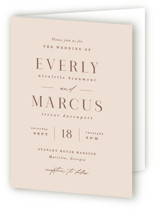This is a pink four panel wedding invitation by Hooray Creative called Everly with standard printing on signature in four-panel.