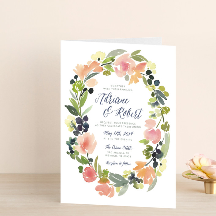 """""""Watercolor Wreath"""" - Floral & Botanical Four-panel Wedding Invitations in Grapefruit by Yao Cheng Design."""