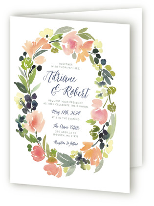 Watercolor Wreath Four-Panel Wedding Invitations