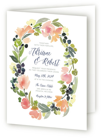 This is a portrait botanical, floral, painterly, watercolor, pink Savvy Wedding Invitations by Yao Cheng Design called Watercolor Wreath with Standard printing on Signature in Four Panel Fold Over (Message Inside) format.