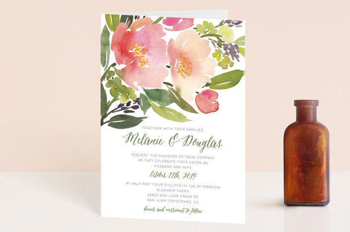 """Watercolor Floral"" - Floral & Botanical Four-panel Wedding Invitations in Olive by Yao Cheng Design."