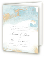 This is a blue four panel wedding invitation by Helen Halik called My tenderness with standard printing on signature in four-panel.