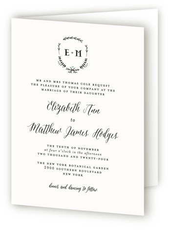 This is a portrait botanical, metallic, preppy, rustic, green Savvy Wedding Invitations by Susan Brown called Always with Standard printing on Signature in Four Panel Fold Over (Message Inside) format. Classic elements with just a bit of color.