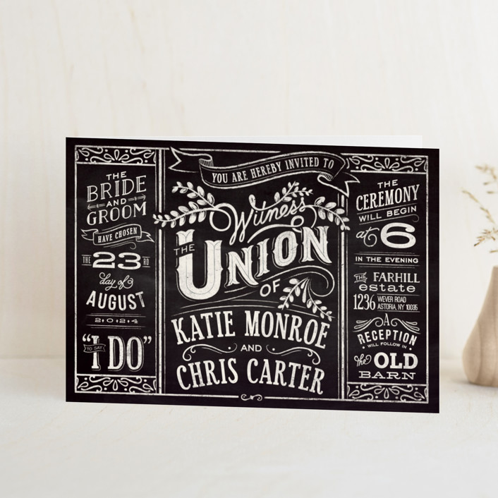"""""""Slated Forever"""" - Bold typographic, Vintage Four-panel Wedding Invitations in Chalkboard by GeekInk Design."""