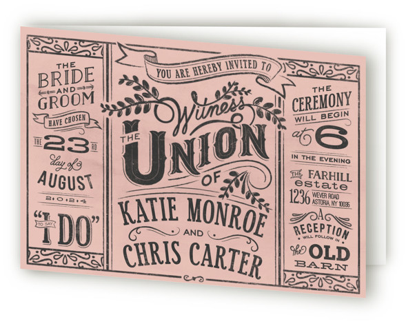 This is a landscape bold typographic, vintage, pink Savvy Wedding Invitations by GeekInk Design called Slated Forever with Standard printing on Signature in Four Panel Fold Over (Message Inside) format. A rustic and vintage chalkboard wedding invite.