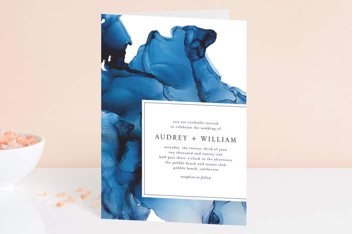 """blue tides"" - Four-panel Wedding Invitations in Sea Blue by Erin Deegan."