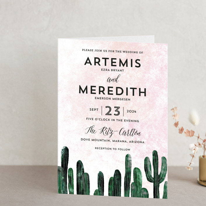 """""""Cacti"""" - Destination Four-panel Wedding Invitations in Rose Crystal by Cass Loh."""