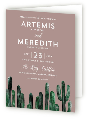 This is a portrait botanical, destination, illustrative, brown Savvy Wedding Invitations by Cass Loh called Cacti with Standard printing on Signature in Four Panel Fold Over (Message Inside) format. This design feature cacti illustration suitable for desert wedding