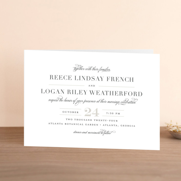"""Classical"" - Elegant, Classical Four-panel Wedding Invitations in Taupe by Jessica Williams."
