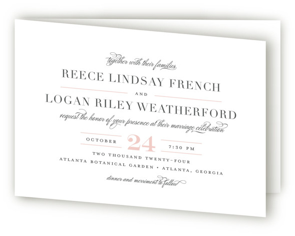 This is a landscape classic and formal, classical, elegant, formal, simple and minimalist, pink Savvy Wedding Invitations by Jessica Williams called Classical with Standard printing on Signature in Four Panel Fold Over (Message Inside) format. Elegantly paired fonts create a ...