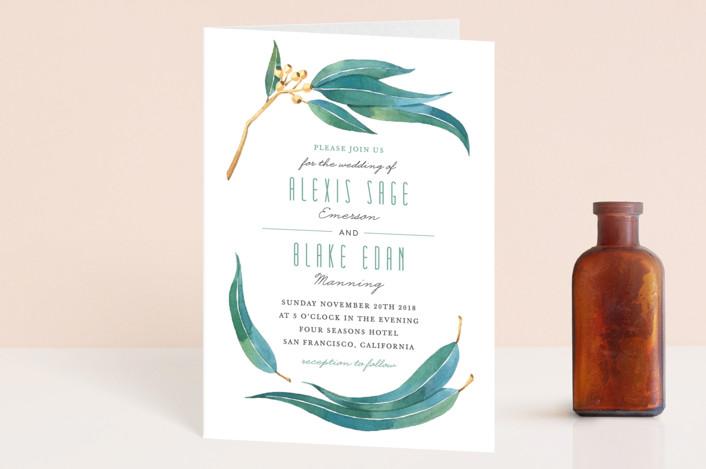 """Eucalyptus Leaves"" - Rustic Four-panel Wedding Invitations in Eucalyptus by Four Wet Feet Studio."