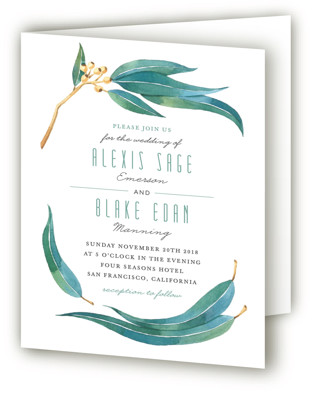 photo of Eucalyptus Leaves Four Panel Wedding Invitations