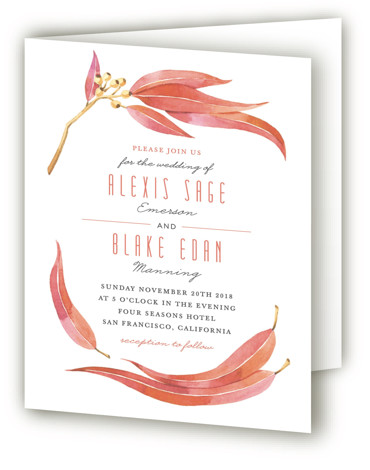This is a portrait botanical, illustrative, rustic, red Savvy Wedding Invitations by Four Wet Feet Studio called Eucalyptus Leaves with Standard printing on Signature in Four Panel Fold Over (Message Inside) format. A wedding invite feature watercolor illustration of Eucalyptus ...